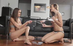 amateur photo Hot girls playing poker and losing down to their bra & panties