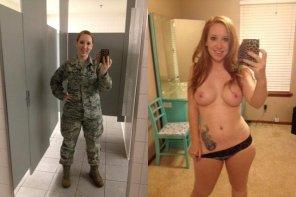 amateur photo Military redhead