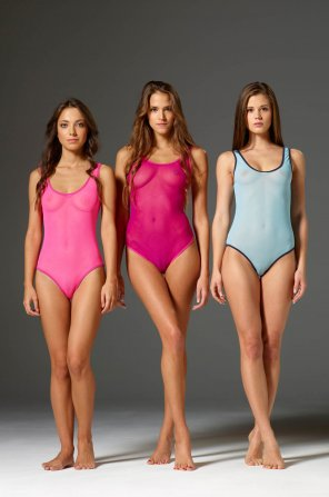 amateur photo Caprice, Silvie, & Kiki all wearing leotards