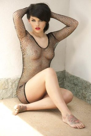 amateur photo Fishnet bodysuit