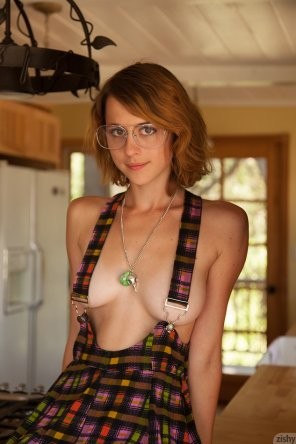 amateur photo Suspenders and glasses