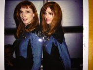 Gates McFadden and her stunt double, Patricia Tallman, on the set of Star Trek TNG