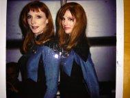 Gates McFadden and her stunt double, Patricia Tallman, on the set of Star Trek TNG