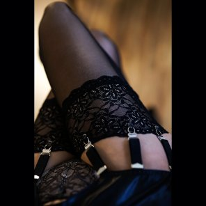 amateur photo Lacy garter and stocking tops