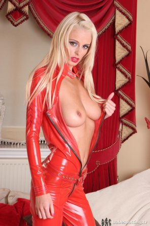 amateur photo Rhian Sugden wearing red