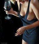 amateur photo Milf with wine and a nip slip