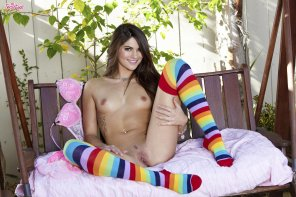 amateur photo Cutie in Rainbow Socks