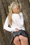 amateur photo Bashful blonde mooning
