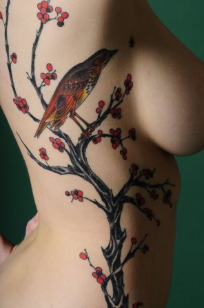 amateur photo Large image [2848x4288] of a lovely cherry blossom tattoo on what I presume is the side of a hot chick!