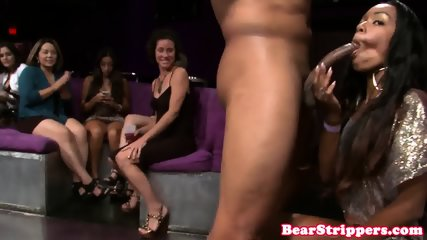 Naughty ladies attacking stripper cock
