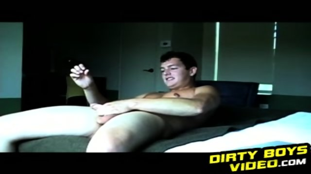 Soccer dude jerks off his huge hard cock after his training