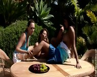 Five Horny Lesbians Playing In Garden - scene 2