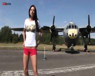 Young Girl Masturbates Under Plane - scene 1