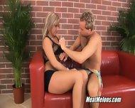 Sweet Blonde Girl Angie Tastes Cock - scene 1