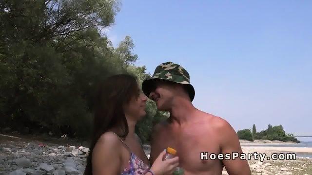 Euro amateur babes beach foursome