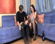 Brunette In Stockings Has Painful Orgasms - scene 1