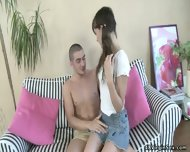 Guy Has Fun With Young Brunette - scene 1