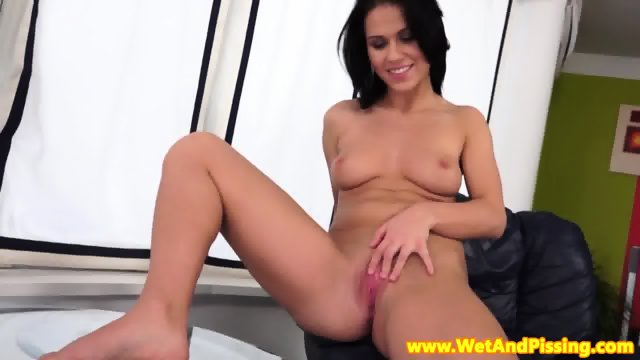 Busty pissloving babe solo piss and play