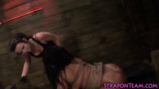 Fetish tied sub dildo