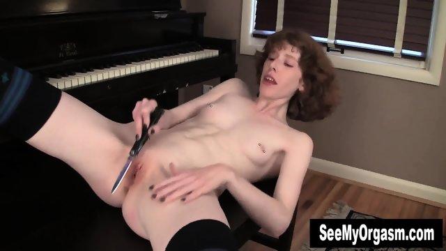 Pierced Staci Masturbating With A Knife