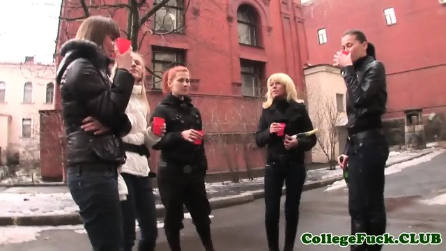 Topless college teens in group dancing