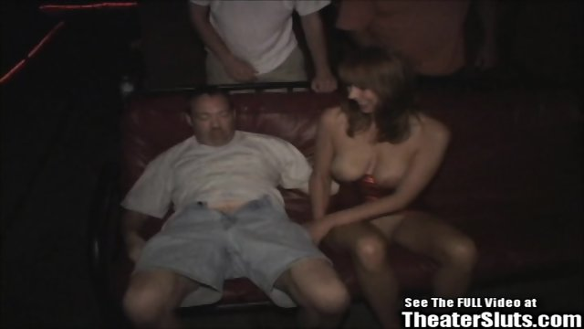 Thin redhead mature Karen taken to the porno theater by Dirty D