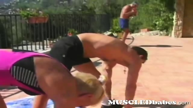Hot guys and girls work out