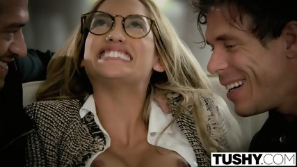 TUSHY Chloe Amour Tries Double Penetration - scene 5
