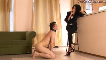 Russian Mistress With Beautiful Feet Mia Trains Her Dog