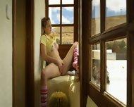 Blonde Teen Rubs Her Sweet PinkPussy While Looking Through Window