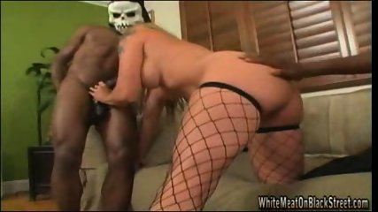 Bitch sucks and fucks 2 HUGE black cocks - scene 5