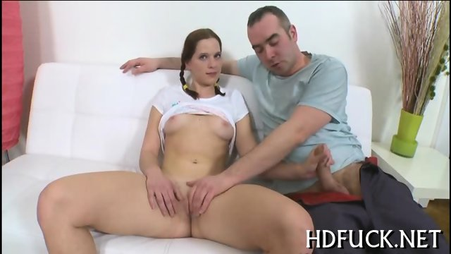 Fucked girl moans with orgasm