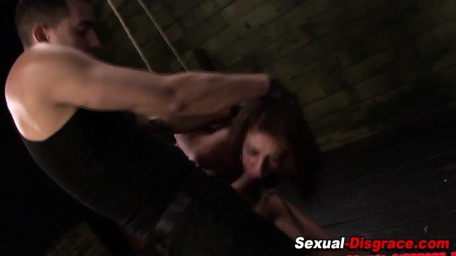 Bdsm whore gobbles cock