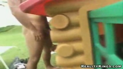 Brazillian Chick Gets Cummed Thru A Toy House