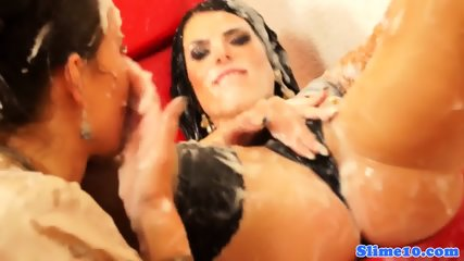 Glam Les Facialized While Fingered - scene 12