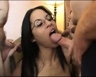 Two Cocks Is Not Enough For This Brunette