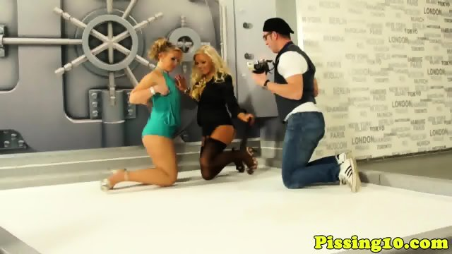 Classy euro pissing babes fucked in threesome