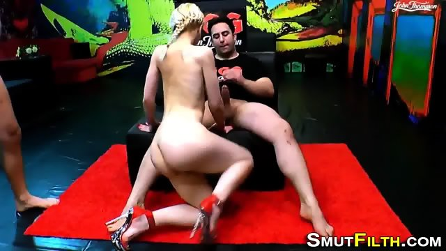 Heeled slut swallows jizz