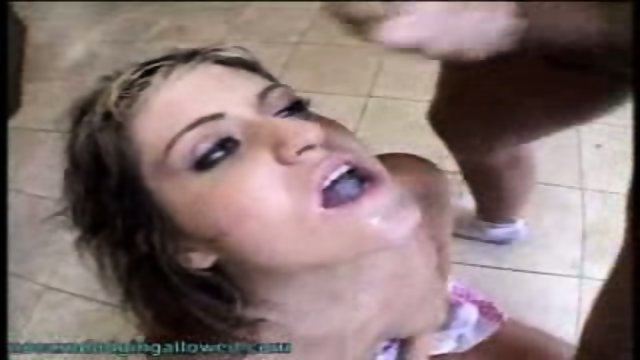 Great Chick Getting Multi Mouthfuls On Bathroom Floor