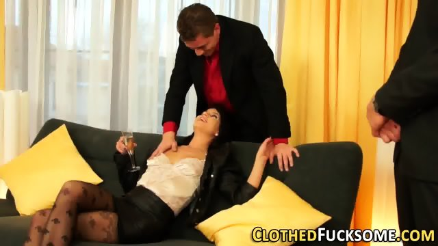 Glam whore fucks 2 cocks - scene 1