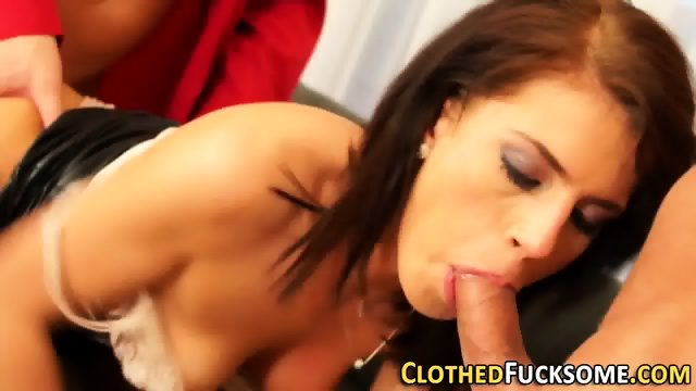 Glam whore fucks 2 cocks - scene 4