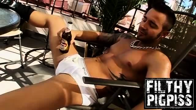 Martin loves showing off big cock and wide ass outdoors