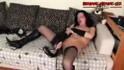 Mature in a couch enjoy alone - scene 6