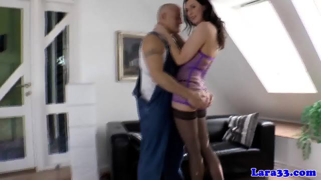 English milf pounded rough on the couch