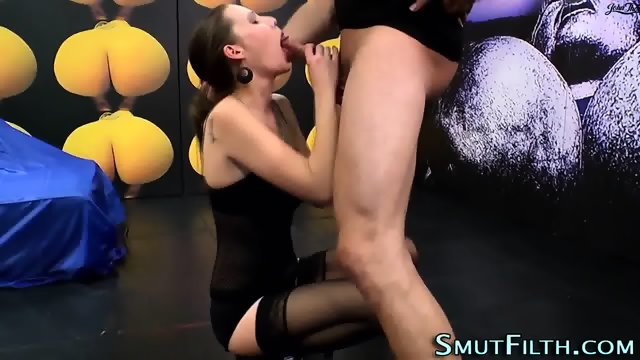 Fetish slut swallows cum