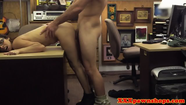 Amateur pawnshop babe doggystyled in store