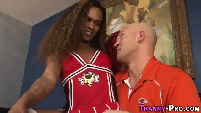Ebony cheerleader tranny