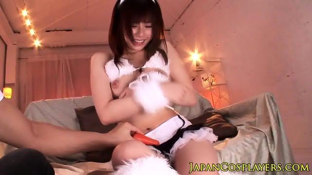 Japanese usagi babe toyed with vibrator