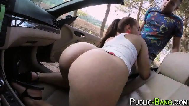 Latina sucks outdoors - scene 9
