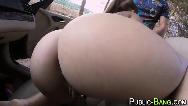 Latina sucks outdoors - scene 11
